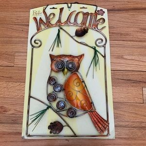 Hand-painted Glass Owl Welcome Sign